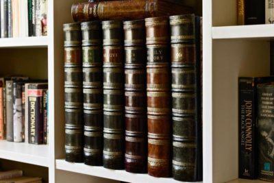 Box files on shelves closeup