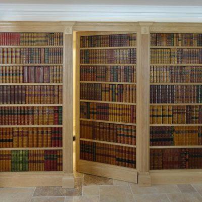 Faux book secret door oak frame