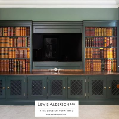 Lewis Alderson media room with Faux Books