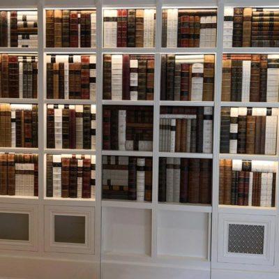 Lit faux bookcase secret door closed
