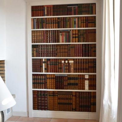 Secret false bookcase door closed