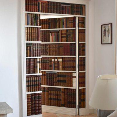 Secret false bookcase door open